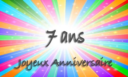 Carte anniversaire humour 7 ans multicolor